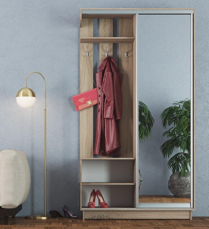 Malá předsíňová stěna se šatní skříní se zrcadlem v dekoru dub sonoma KN1127