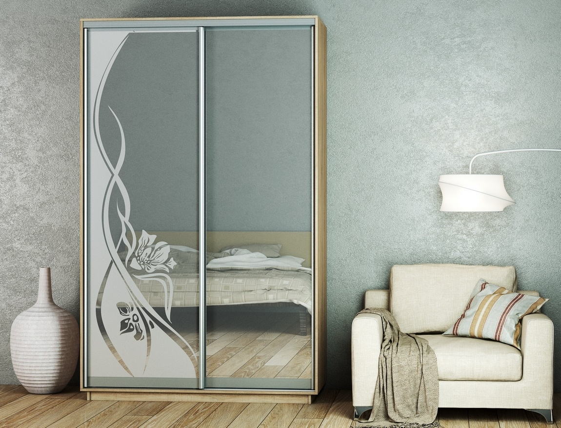 Šatní skříň 150 cm s posuvnými dveřmi se zrcadlem a korpusem v dekoru dub sonoma KN1103 Casarredo