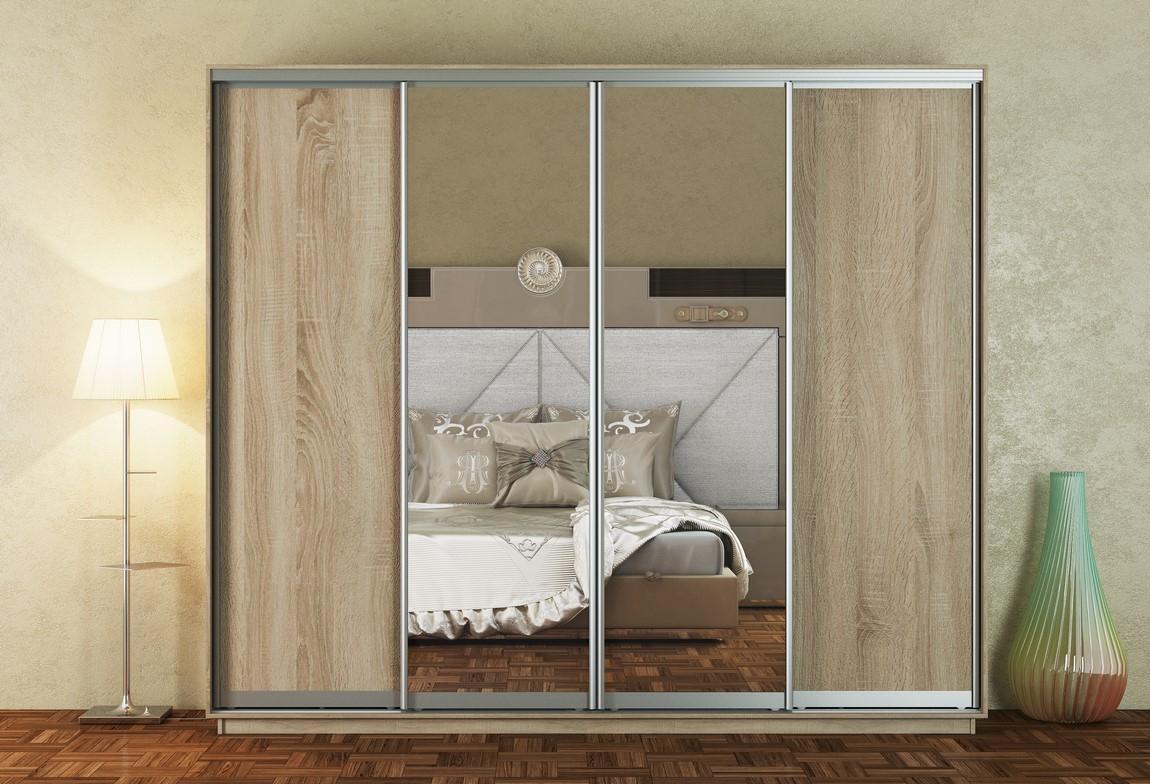 Šatní skříň 280 cm s posuvnými dveřmi v dekoru dub sonoma se zrcadly s korpusem dub KN1108 Casarredo