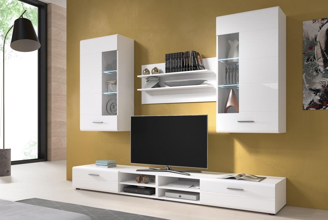 Obývací stěna ve vysokém bílém lesku typ I KN1162