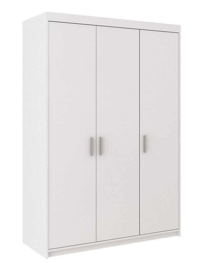 Šatní skříň 133 cm s dveřmi a korpusem v bílé barvě KN1008