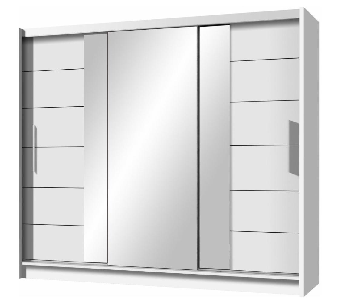 Šatní skříň 250 cm se zrcadlem s posuvnými dveřmi a korpusem v bílé barvě KN596 Casarredo