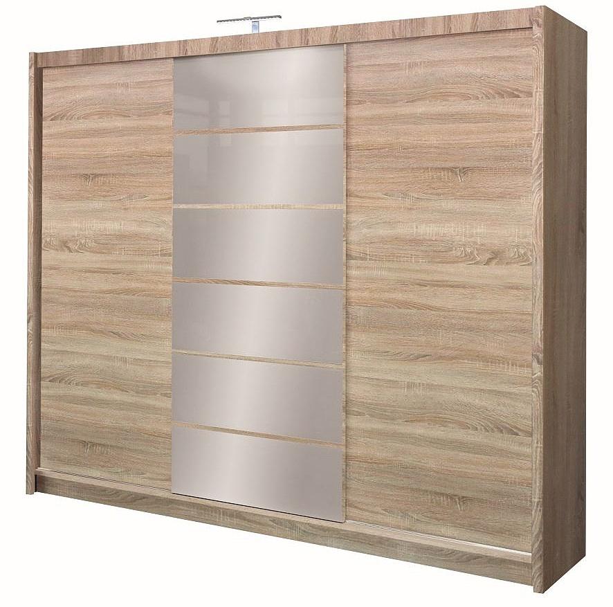 Šatní skříň 250 cm s posuvnými dveřmi se zrcadlem v dekoru dub sonoma KN158 Casarredo