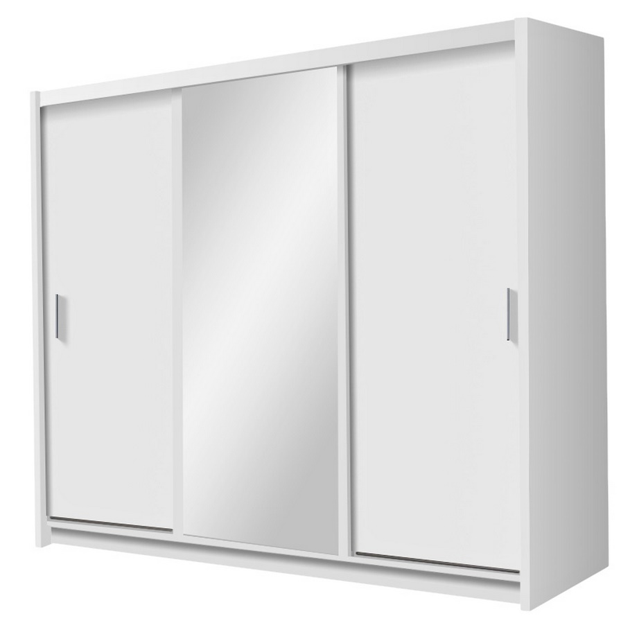 Šatní skříň se zrcadlem a posuvnými dveřmi v bílé barvě KN198