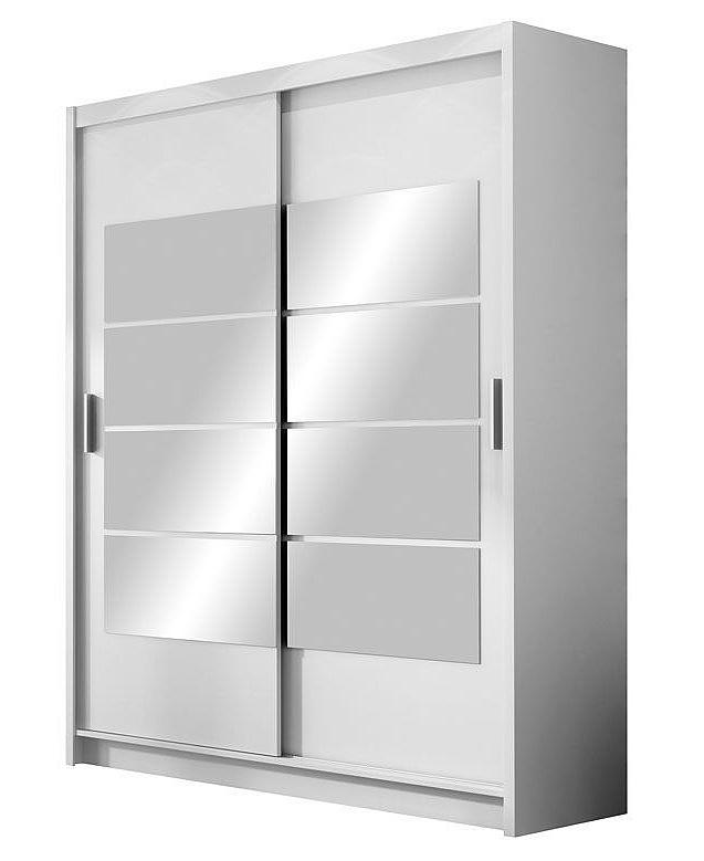Šatní skříň se zrcadlem v elegantní bílé barvě KN531