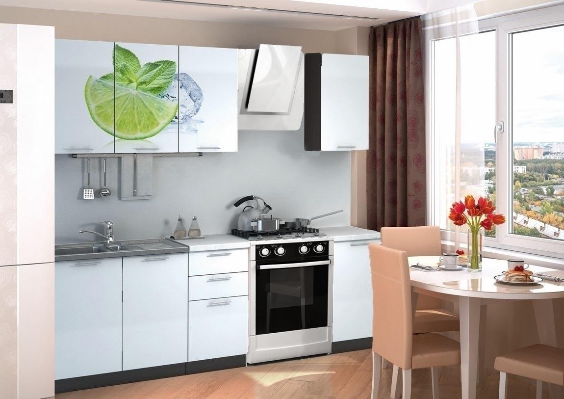 Kuchyňská linka 160 cm bílý lesk s obrázkem limetky KN405