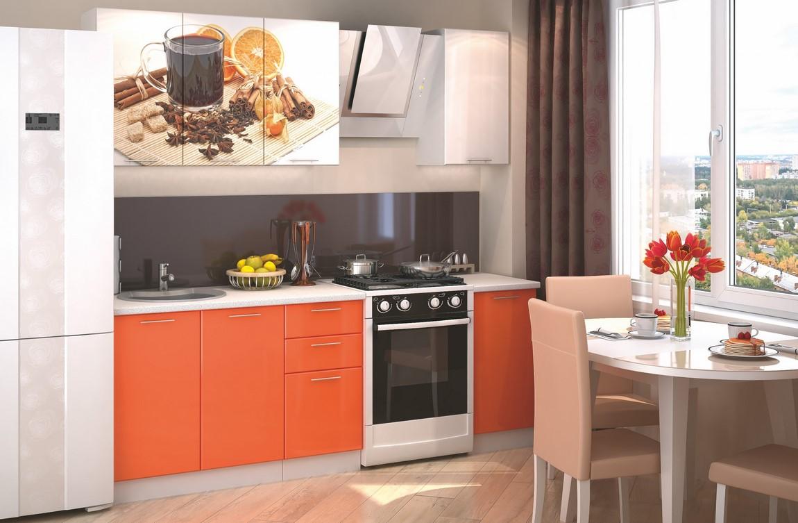 Kuchyňská linka 160 cm oranžový a bílý lesk s obrázkem pomeranče KN405