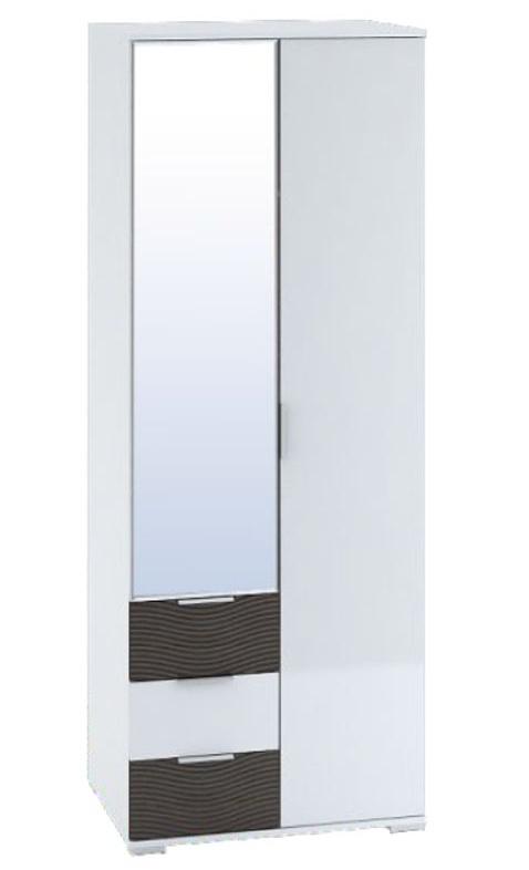 Šatní skříň 80 cm v bílém lesku se zrcadlem a zásuvkami v dekoru wenge KN1179