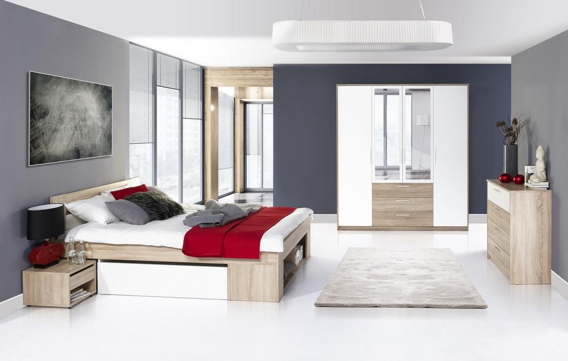 Ložnicová sestava dub sonoma, bílá KN133 (postel 160, komoda 4S, skříň)