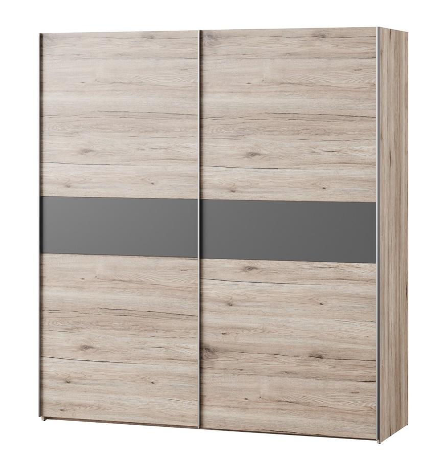Šatní skříň 183 cm s posuvnými dveřmi v kombinaci dub wellington a šedý antracit KN024 Casarredo