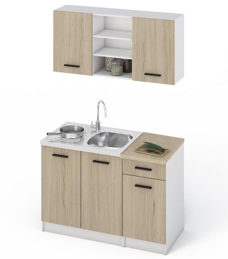 Kuchyňská linka 120 v bílé barvě a dekoru dub sonoma KN413