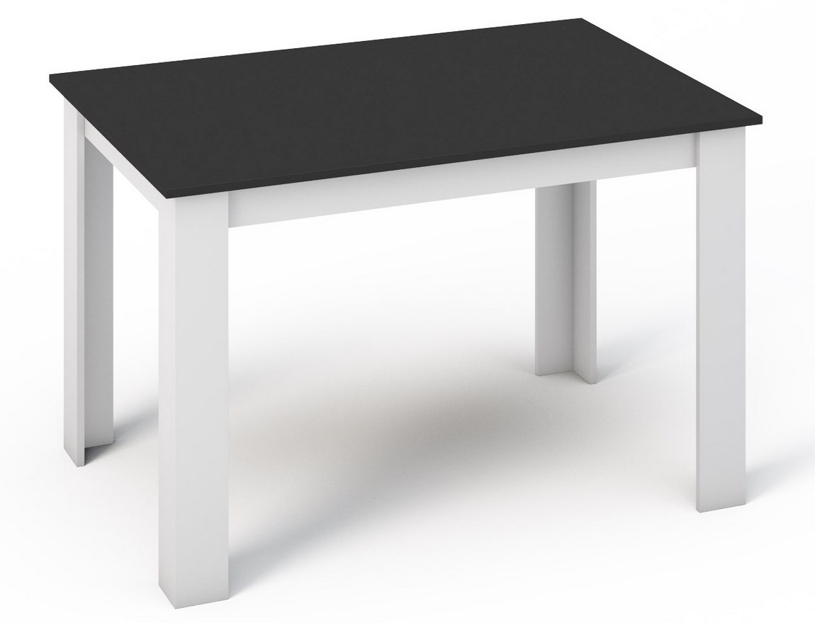 Jídelní stůl 120x80 cm v černé barvě v kombinaci s bílou KN360