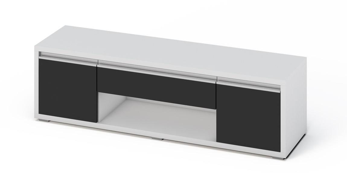 Moderní televizní stolek v černém lesku a bílé barvě KN372 Casarredo