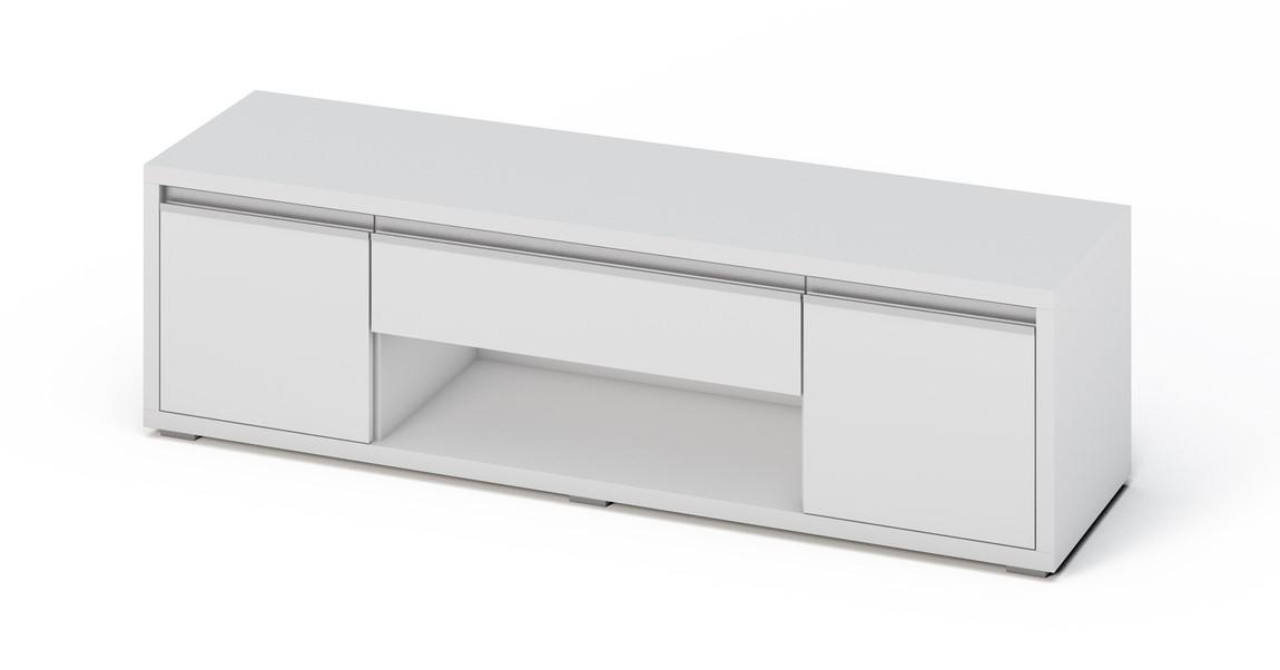 Moderní televizní stolek v bílém lesku KN372 Casarredo
