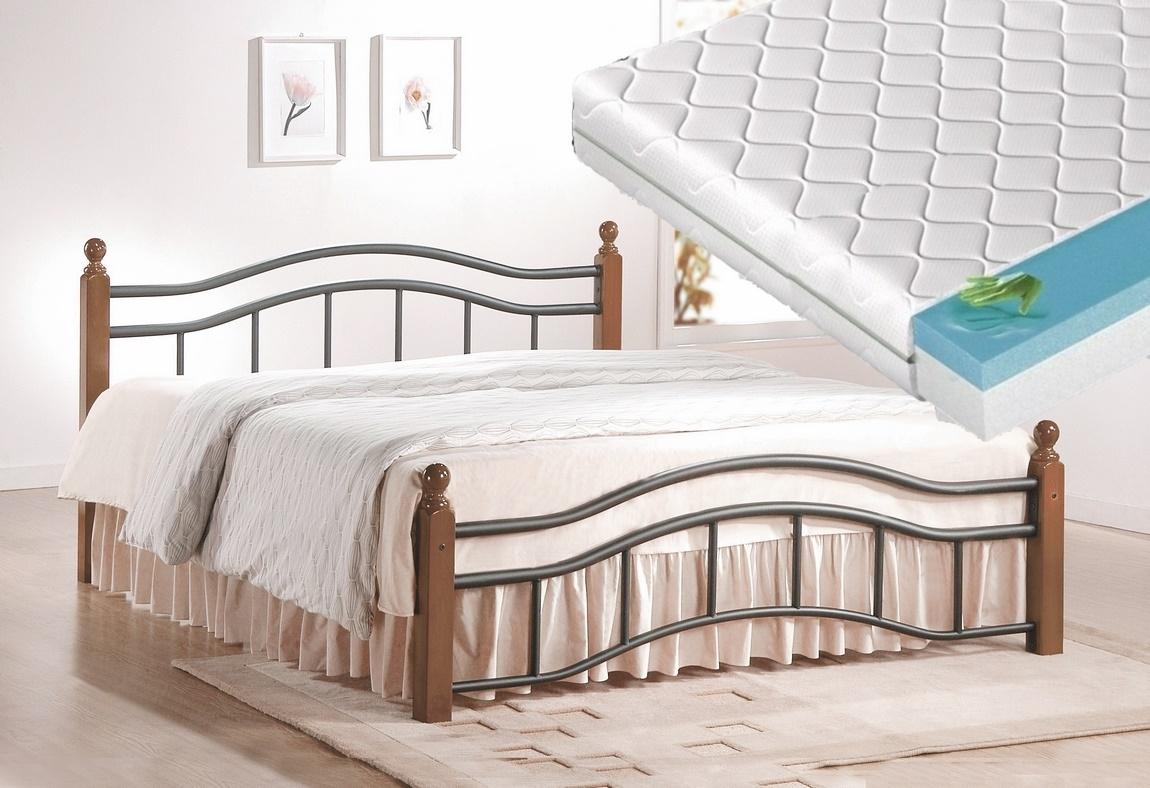 Manželská postel 180x200 cm v klasickém stylu s roštem a matrací KN368