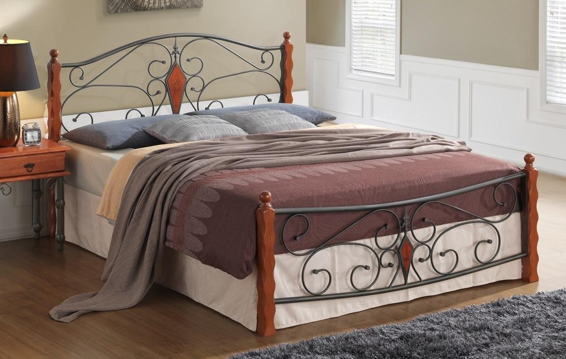 Manželská postel 180x200 cm v dekoru antická třešeň v kombinaci s černým kovem s roštem KN991