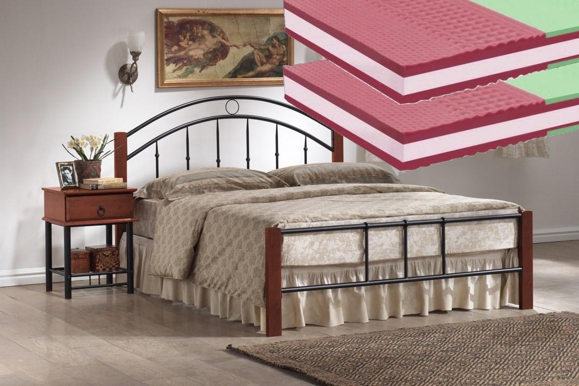 Manželská postel 160x200 cm v dekoru třešeň antická s roštem a matracemi KN139