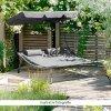 Zahradní postel, šedá, pro dvě osoby, MULTINA