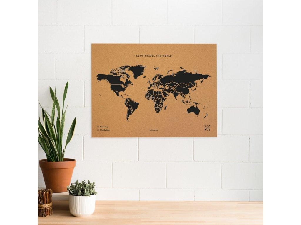 woody map natural cork world black