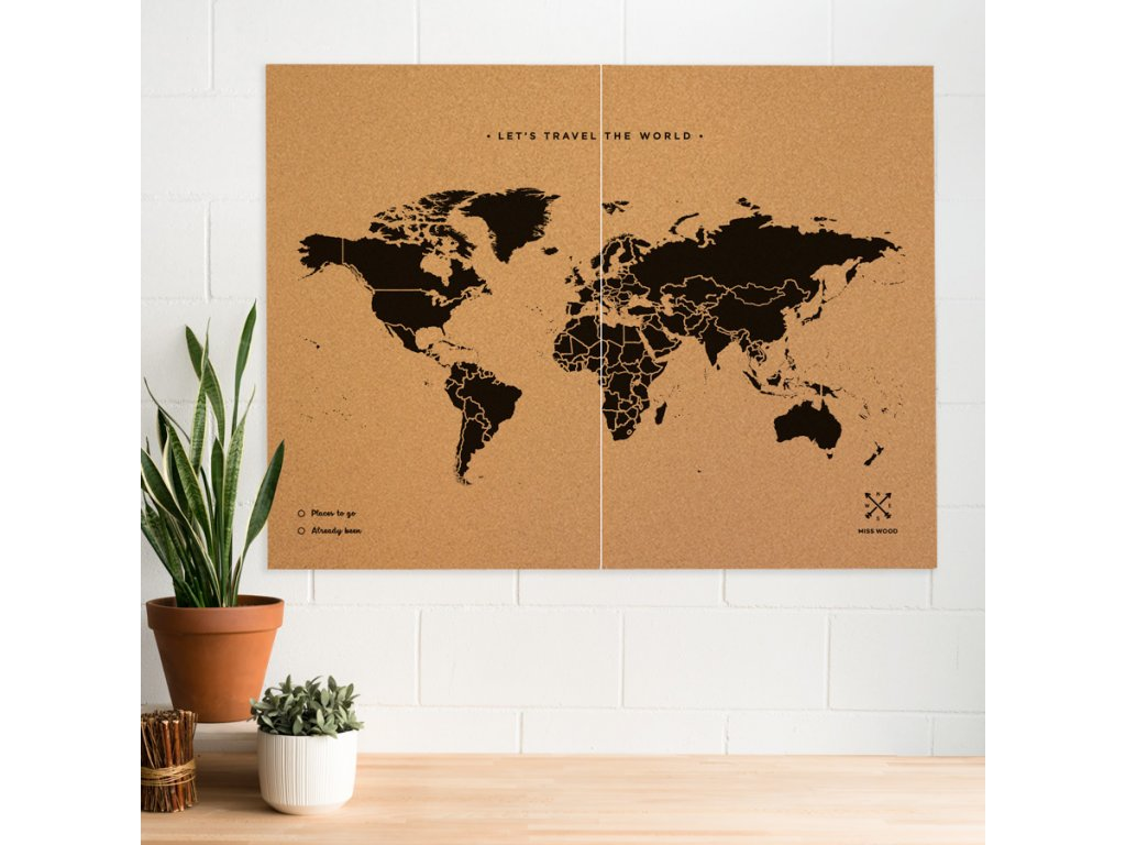 XXLwoody map natural cork world black (1)