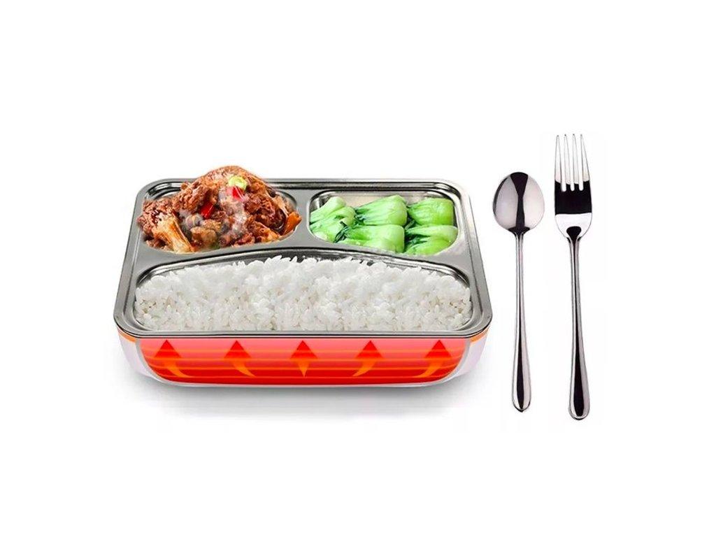 Ohřívací box na jídlo s kovovou nádobou a příborem