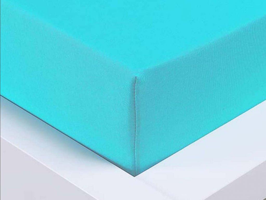 Jersey prostěradlo Exclusive dvoulůžko - azurová 180x200 cm