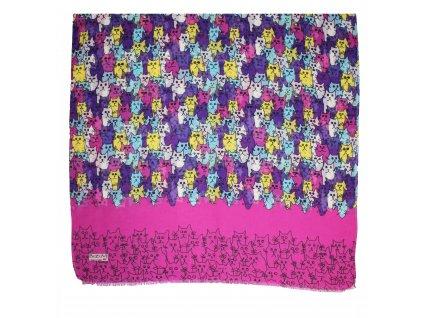 Šátek barevný- kočičky