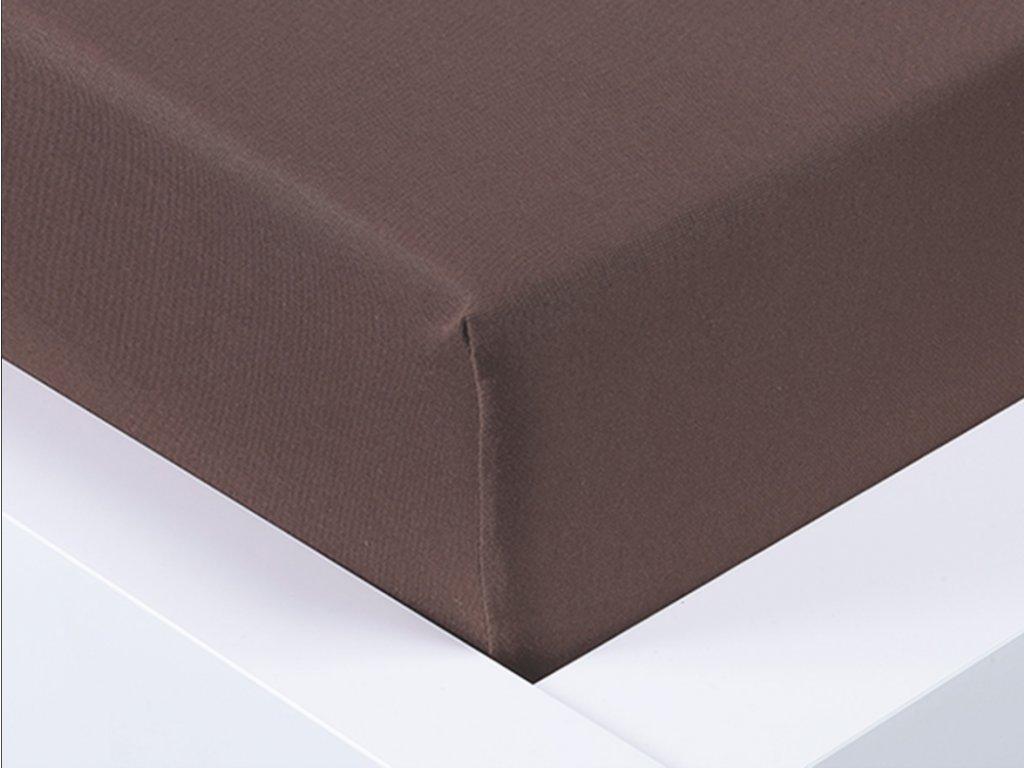 13987 jersey prosteradlo exclusive jednoluzko tmave hneda 90x200 cm