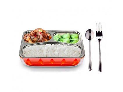 Ohřívací box na jídlo s kovovou nádobou a příborem (Typ napájení 220V a 12v (2v1))