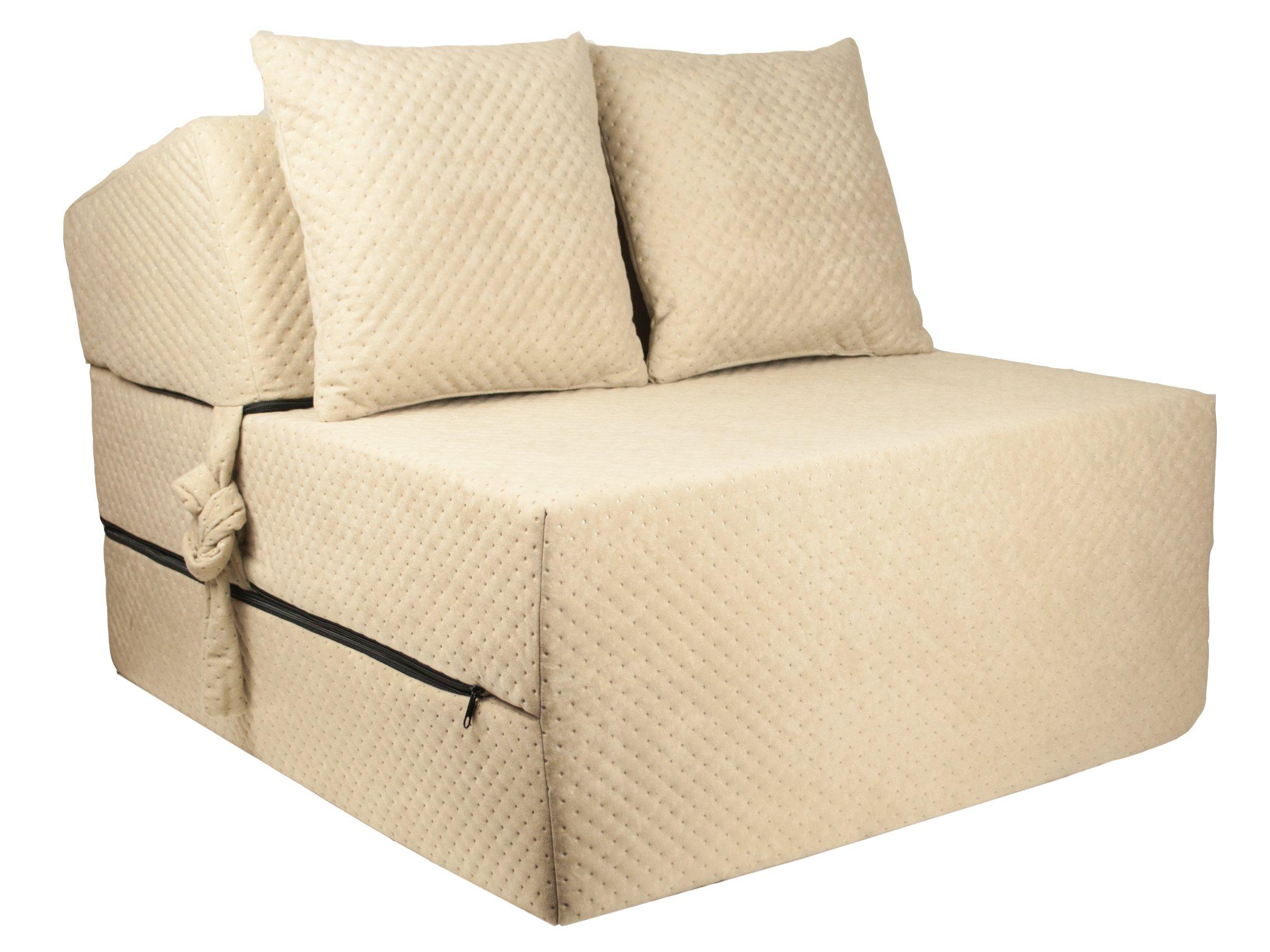 FIMEX Rozkládací křeslo SUPER Comfort pro hosty 70x200x15 Ecru