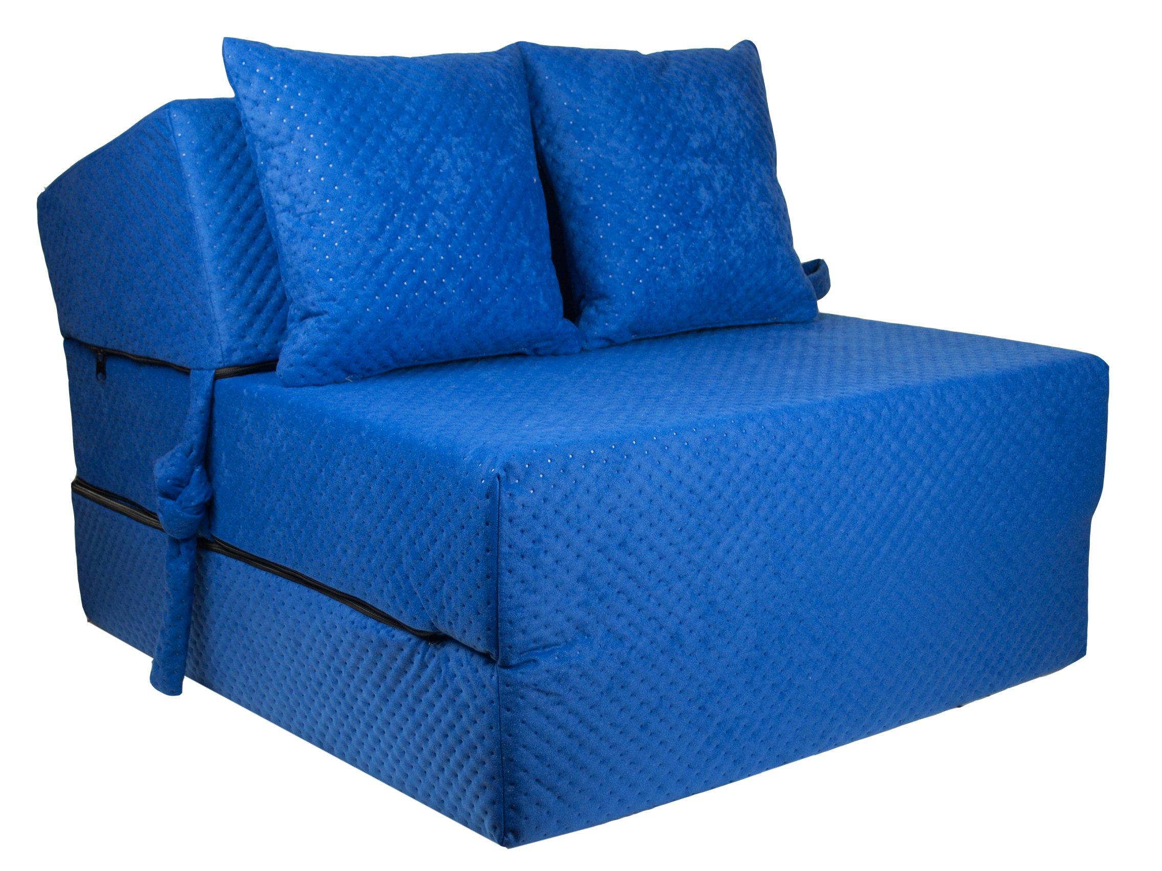 FIMEX Rozkládací křeslo SUPER Comfort pro hosty 70x200x15 Modrá