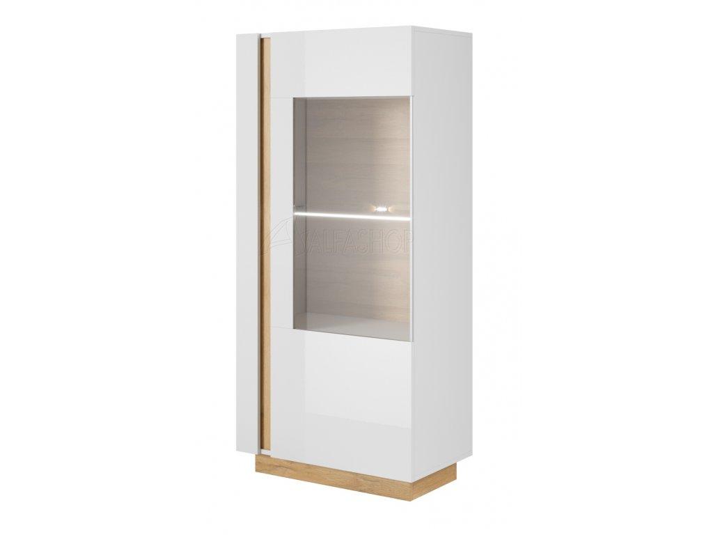 Arko vitrína nízká bílá lesk