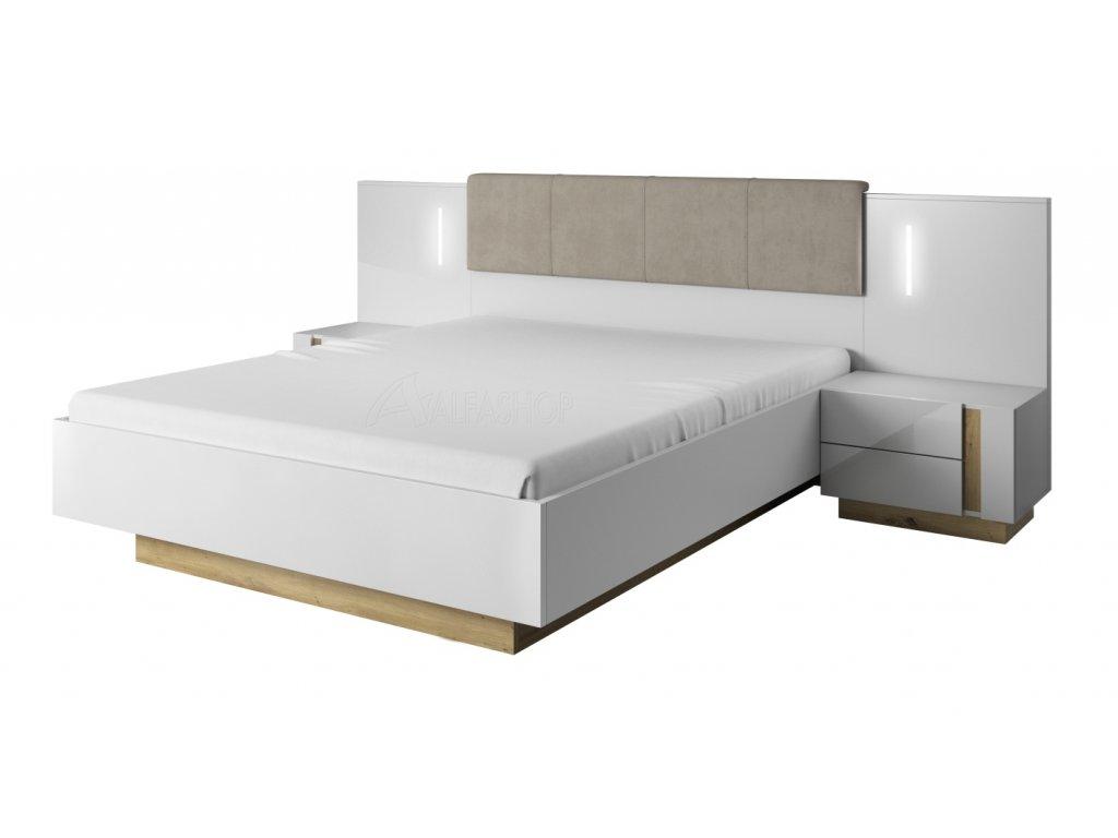 Arko postel 160 s nočními stolky bílá lesk