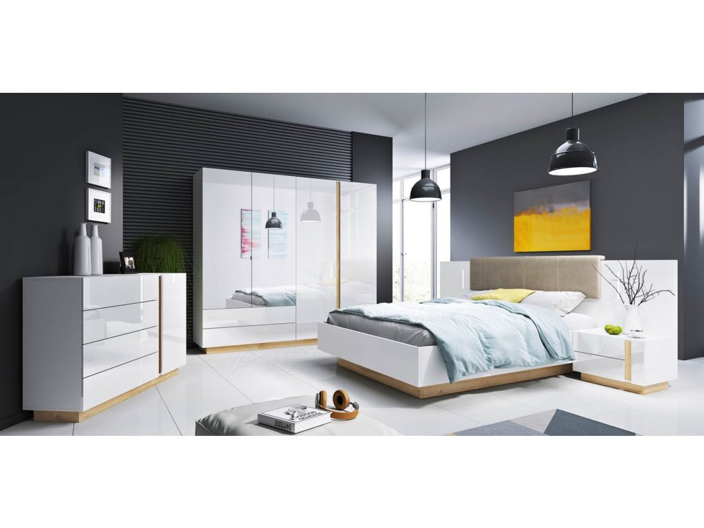 Arko ložnice bílá lesk