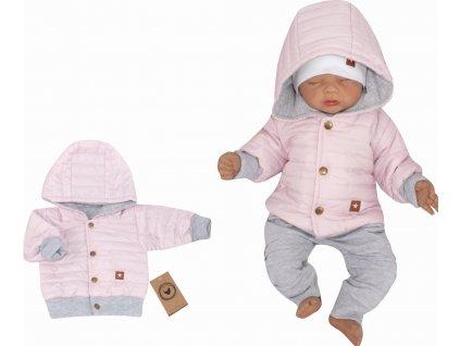 modna kurtka jesienna, wiosenna dla niemowlaka, bejsbolowka pikowana rozowa (1)