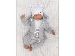 Bawelniany dres niemowlecy. Komplet dresowy dla niemowlaka. Szary dres dzieciecy. Prezent dla noworodka, niemowlaka. Modny dresik z uszami. Bluza z kapturem na zamek, spodnie dresowe, body