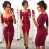 2017 1Summer Autumn Women Dress Blue Red Black Dress Fashion Dress Knee Length Sexy Party Office
