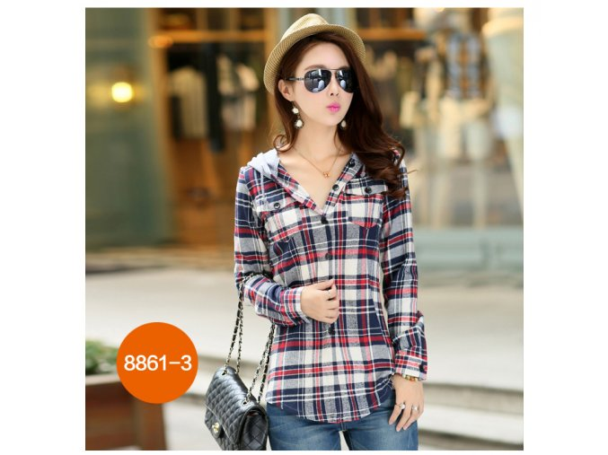 New 2017 Spring Women Shirt Fashion Plaid Hooded Shirt Flannel Shirt Long Sleeve Women Blouses Shirt