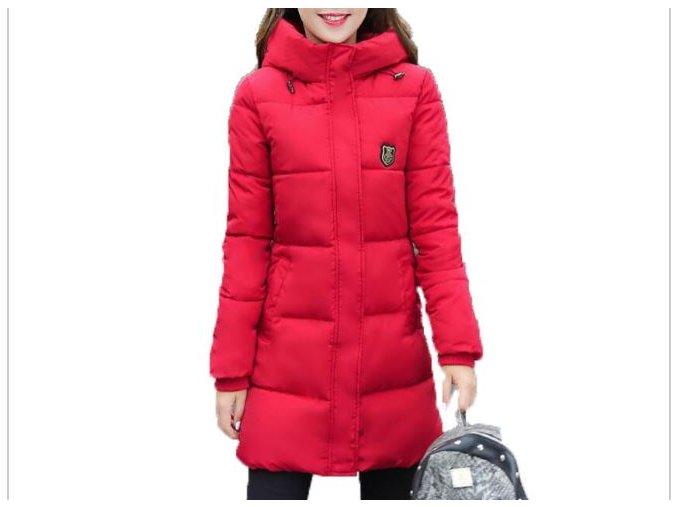 Dámská dlouhá zimní bunda  s kapucou (barva světle růžová, Velikost 2XL)