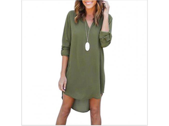 Dámské elegantní šaty s dlouhým rukávem (barva Zelená, Velikost S)