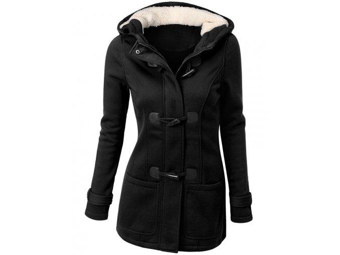 Dámský zimní kabát s kapucou (barva světle šedá, Velikost S)