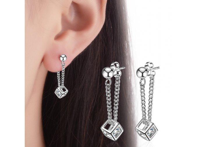 XIYANIKE 925 Sterling Silver Fashionable Cube Long Section Earrings For Women Sterling silver jewelry Oorbellen Brincos