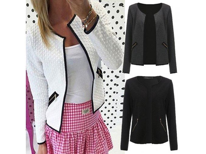 Dámské módní sako (barva šedá, Velikost 4XL)