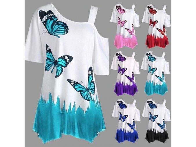Dámská tunika s motýly (barva Modrá, Velikost S)
