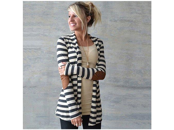 Dámský pruhovaný cardigan (barva černo-bílá, Velikost XL)