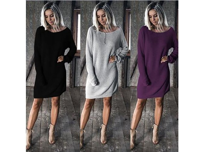 Dámské svetrové šaty (barva černá, Velikost S)