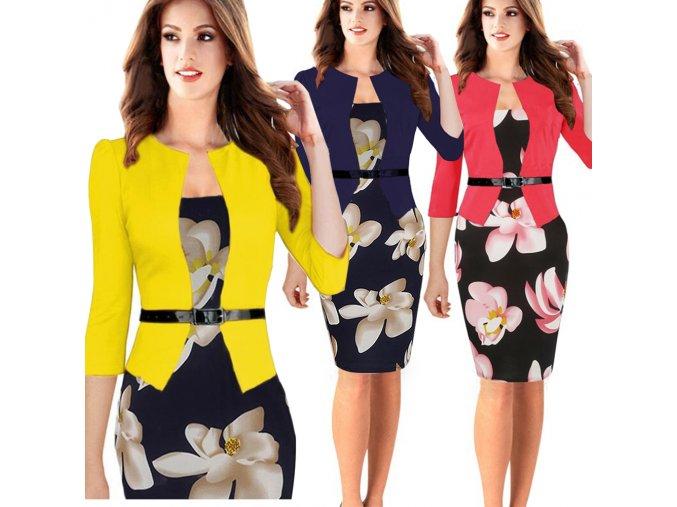 Dámské společenské šaty se sakem (barva žlutá, Velikost 4XL)
