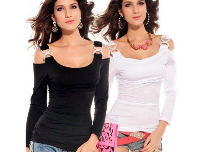 Dámské elegantní triko (barva černá, Velikost XL)
