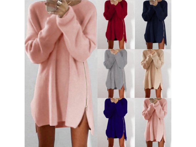 Puseky 2017 Hot Casual Women Loose Fitted Scoop Neck Long Sleeve Zipper Sweater Mini Short Dress