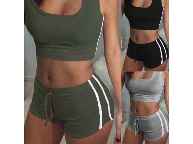 Fashion Women Clothes Two piece set Tracksuit Sportwear Suit Fitness Clothing Workout shirt shorts